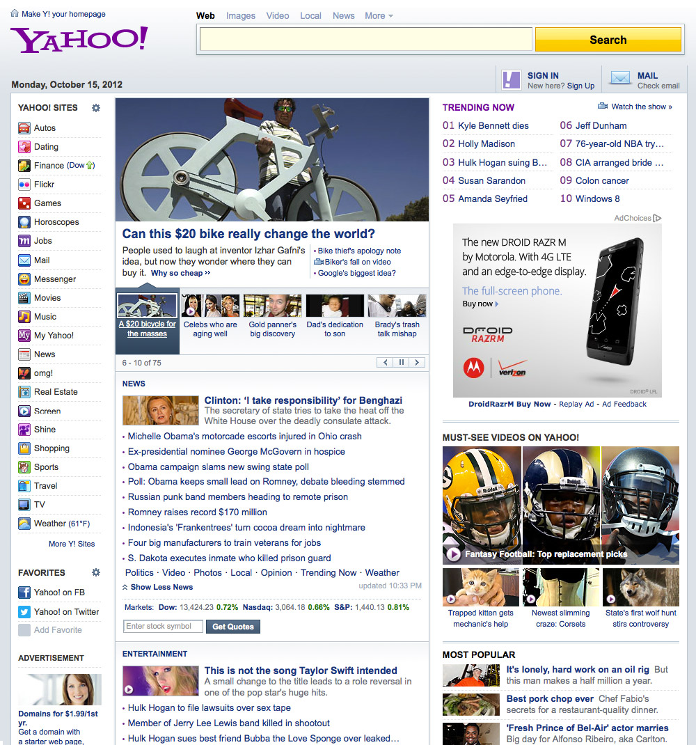 Yahoo com home page - Current Homepage